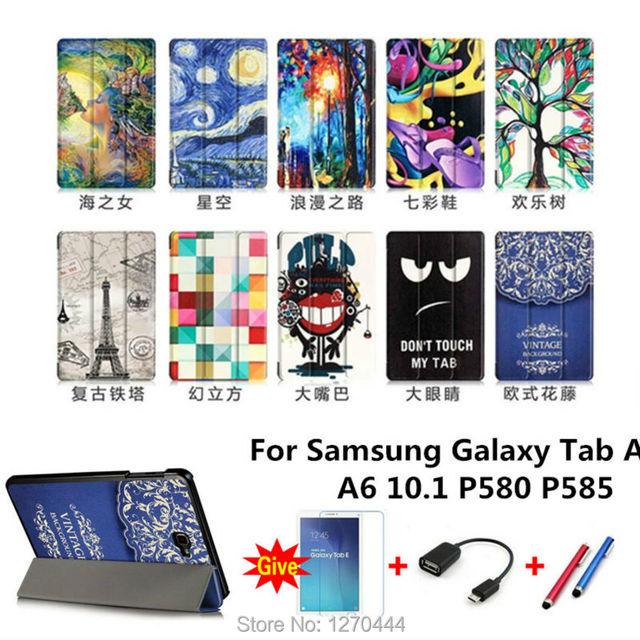 Новый Цветной рисунок Tab P580 Leather Case folio stand Обложка для Samsung Galaxy Tab A A6 10.1 P580 P585 Tablet PC + OTG + Ручка + Пленка