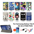 New Colored drawing Tab A P580 Leather Case folio stand Cover For Samsung Galaxy Tab A A6 10.1 P580 P585 Tablet PC+OTG+Pen+Film
