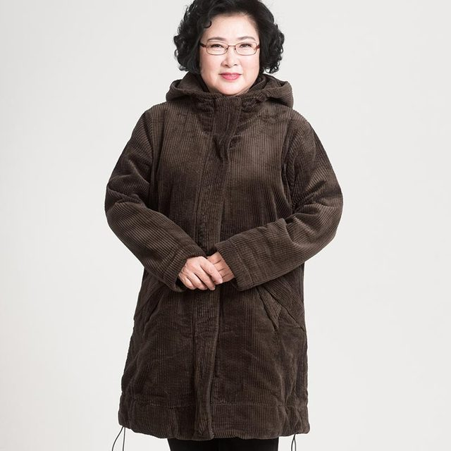 a7a7410b0ff0d plus size 5xl middle-aged women jacket thicken warm winter coat elderly  loose hooded cotton