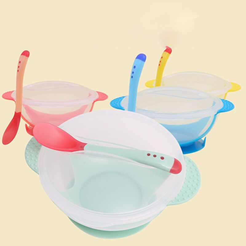 1pc/3Pcs/ Baby Tableware Dinnerware Suction Bowl With Temperature Sensing Spoon Baby Dinner Feeding Bowls Dishes For Chilren