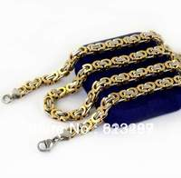 Factory Price+Mix Order Fashion Men's Stainless Steel 6.3mm Two Tone Byzantine Chain Necklace Free Shipping