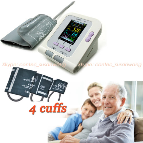 CE&FDA Digital Blood Pressure Monitor + 3 cuffs+ PC software CONTEC08A,home use blood pressure monitor 2018 new ce fda digital blood pressure monitor usb software cd included contec08c bp monitor tensiometer