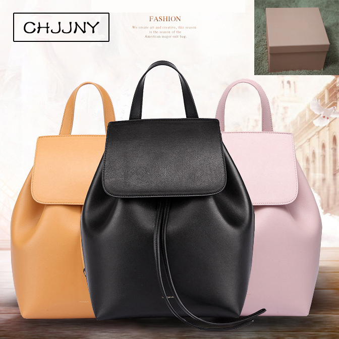 CHJJNY lady bag shoulder genuine leather crossbody luxury women school bag for teenager drawstring designer Mansur and Gavriel 2016 newest mansur gavriel genuine leather women circular tote bag lady hand bag logo printed free shipping