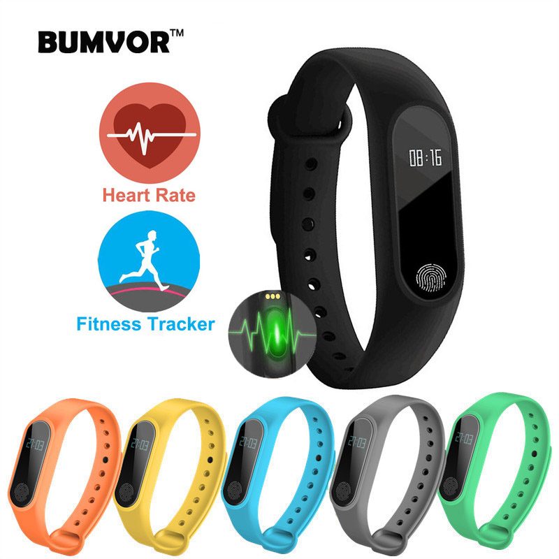 BUMVOR 2018  Smart Wristband M2 Smart Bracelet Heart Rate Monitor Pedometer Waterproof Bluetooth For IOS Android For Men Women