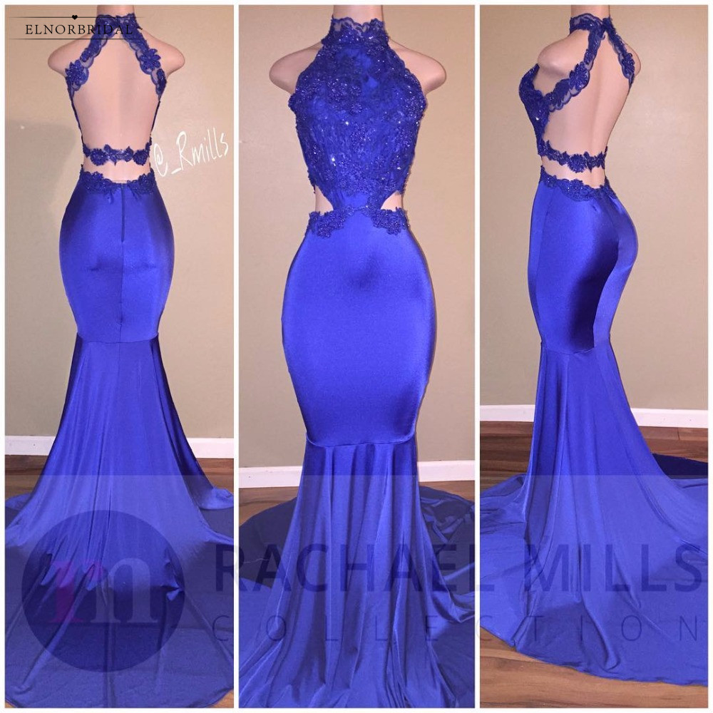 Royal Blue Mermaid   Evening     Dresses   Long 2019 African Formal Backless Lace Prom   Dress   Women Party Gowns Robe De Soiree