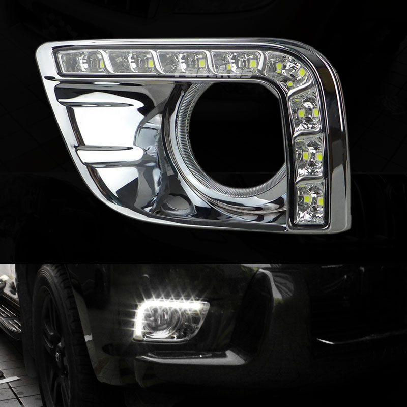 DRL Daytime Running Light for Toyota Prado FJ150 LC150 2010 2011 2012 2013 Land Cruiser 2700/4000 with Fog Lamp Hole dimmed light function car led drl daytime running lights with fog lamp hole for toyota prado land cruiser fj150 lc150 2010 2013