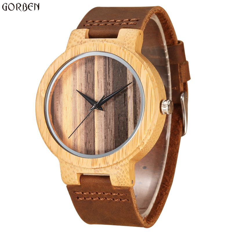 Vintage Natural Bamboo Quartz Mens Watches Natural Wooden Dial Retro Unique Cow Leather Band Fashion Mens WristWatches Gift Set