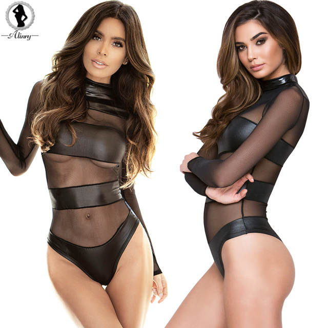 a2708c3d4d7 placeholder ALINRY New sexy lingerie hot black red mesh leather teddy  bodysuit O-neck backless transparent