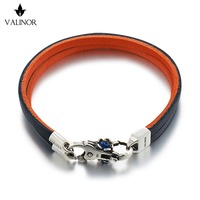 Blue orange Double layer of the first layer of leather bracelet 925 Sterling Silver Bracelets SCNP001