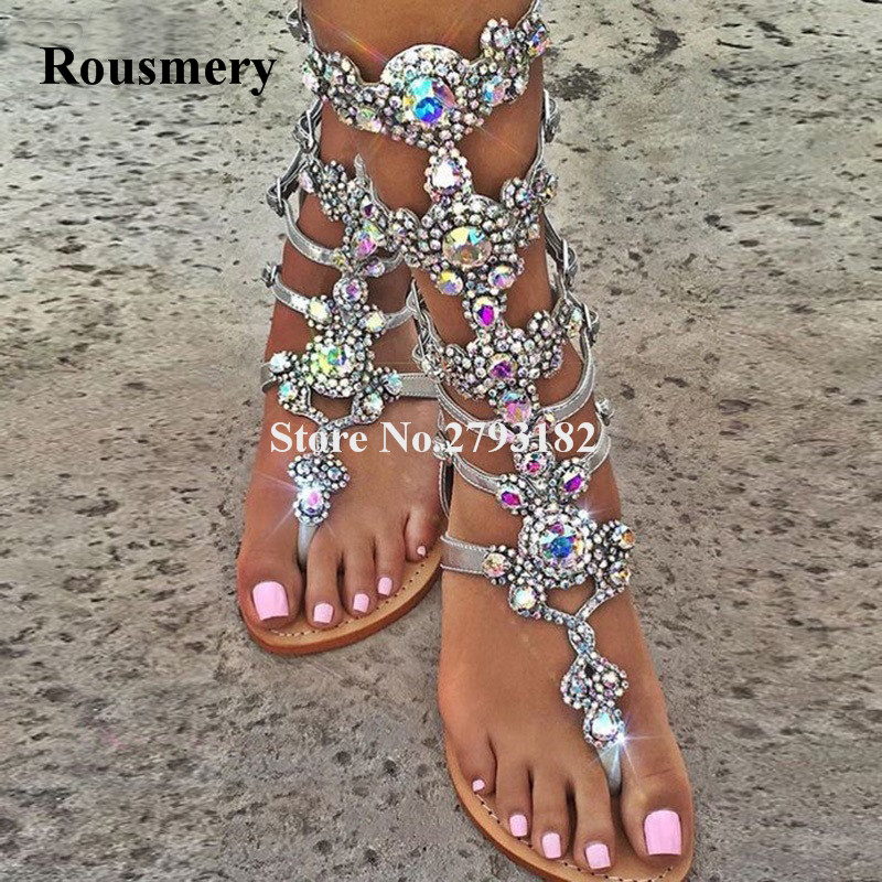Women Luxury Style Mixed Colors Rhinestone Flat Sandals Clip Toe Beautiful Crystal Bohemia Flat Sandals Strap Buckles Sandals цена и фото