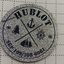 Custom-Made Silver Metalic material background with black letters Woven Patches