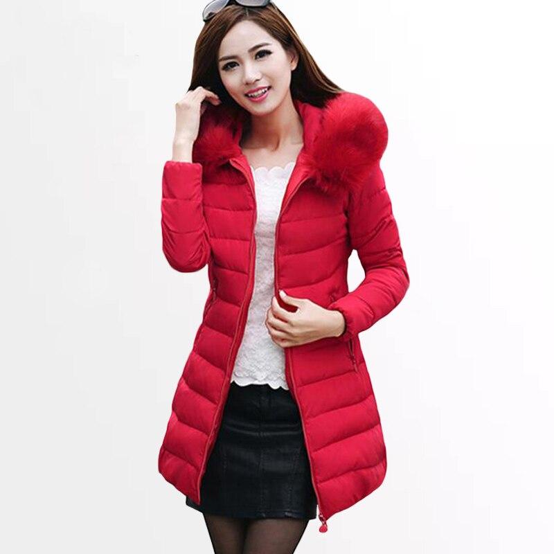 Dámská zimní bunda 2019 nové dámské zimní bundy kabáty dámské čalouněné parky módní tlustá teplá kapuce bavlněný kabát