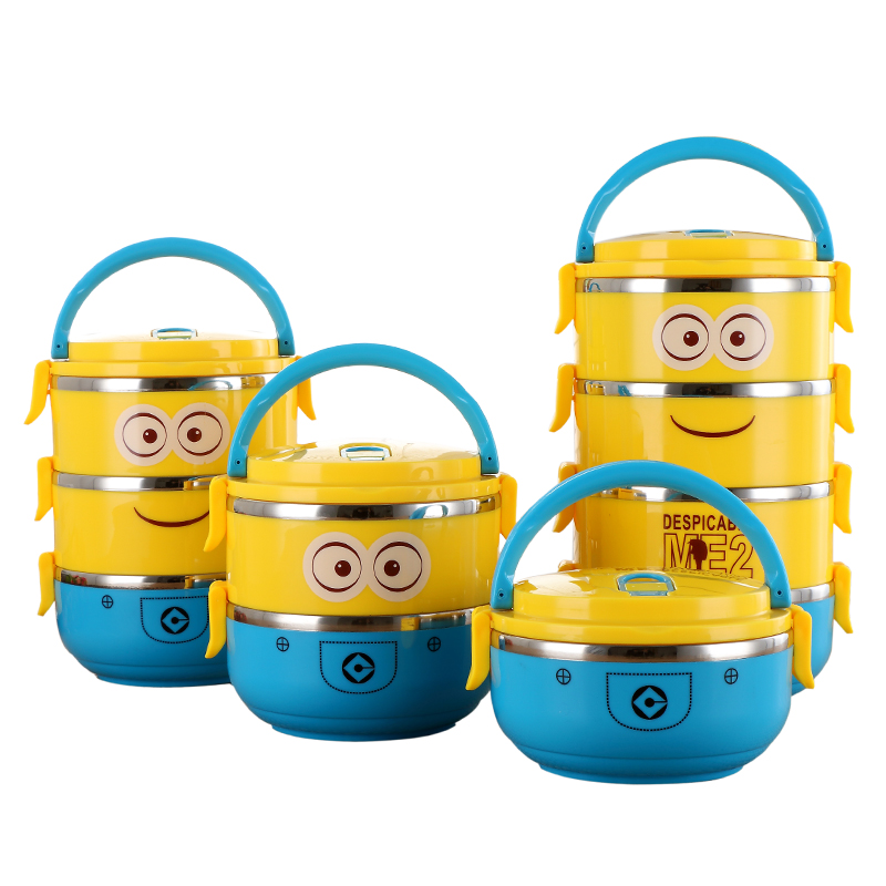 buy cute cartoon minion stainless steel lunch box for kids with plastic tiffin. Black Bedroom Furniture Sets. Home Design Ideas