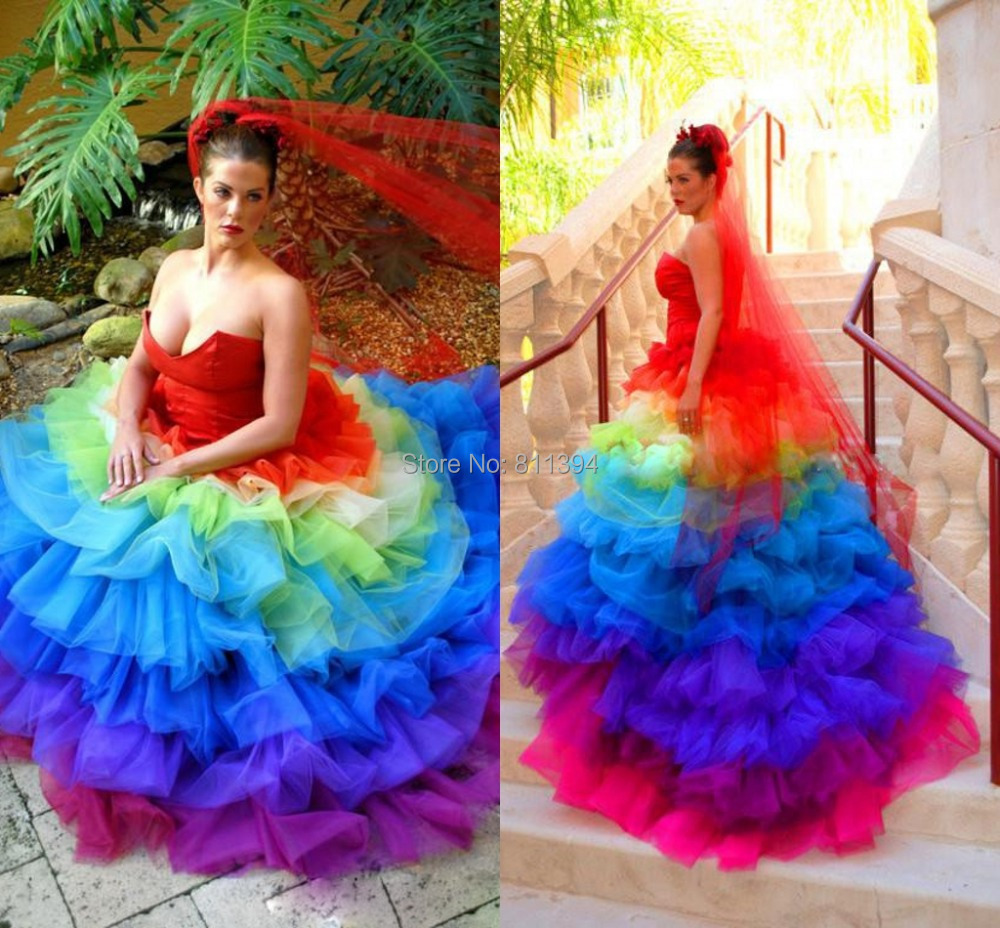 Multi Color Bridal Wedding Dresses 2014 Brand New Colorful