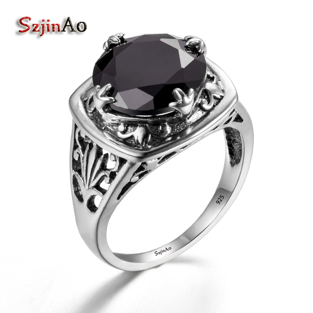 e695a5aedf45a0 Szjinao Flower Shape 100% 925 Sterling Silver Rings For Women Vintage  Ethnic Style Black Zircon
