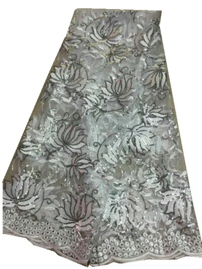 High quality Fashion design silvery color water soluble lace fabric with sequin for party!yy-5-9