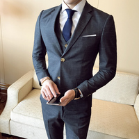 ( Jacket + Vest + Pants ) 2019 New Fashion Boutique Men's Plaid Formal Business Suit 3 Piece Set / Men's High-end Casual Suits 4