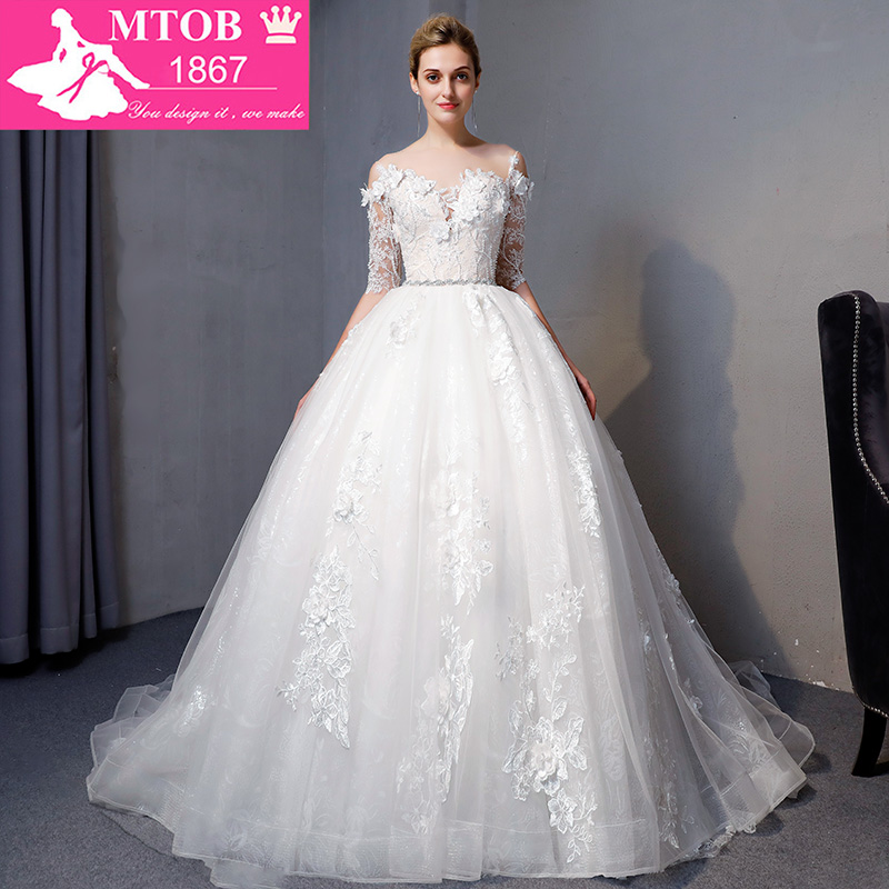 Fashionable Lace Wedding Dress 2018 Contrast Color Luxury Beading Robe De Mariage vintage sheer back Ball Gown dresses MTOB1807