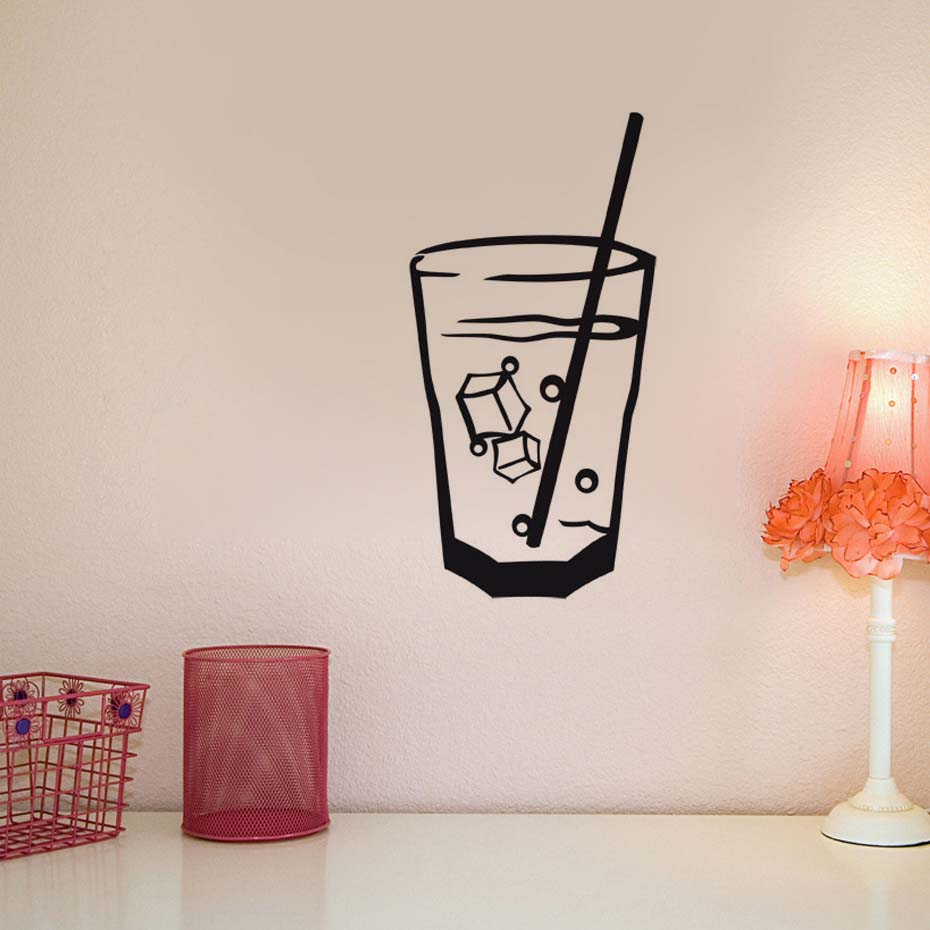 DCTOP Hot Sale Wall Stickers Cocktail Glass Wall Sticker