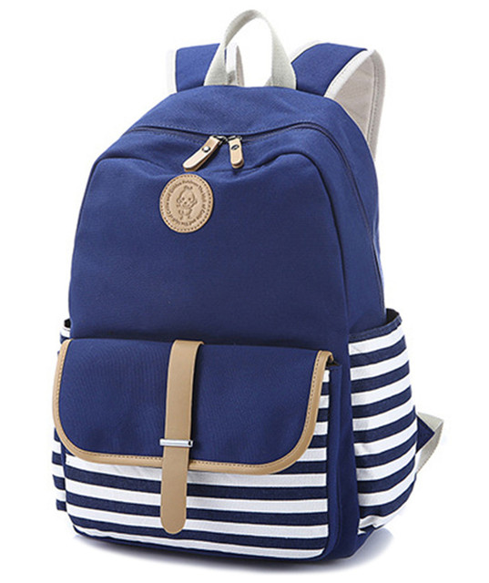Cute Lightweight Canvas Stripe Bookbags Water Resistant School Backpacks Most Durable Bag For Age S