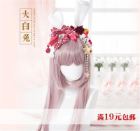 Rose Butterfly Pearl Cute Plush Handmade KC/ Rabbit Ear Headband LOLITA Strawberry Headwear O