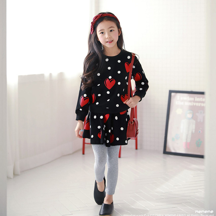 WNLEIGEL 2pcs girls spring autumn casual clothing set kids casual black heart printed t shirt and fake two skirt-pant set 3-11TWNLEIGEL 2pcs girls spring autumn casual clothing set kids casual black heart printed t shirt and fake two skirt-pant set 3-11T