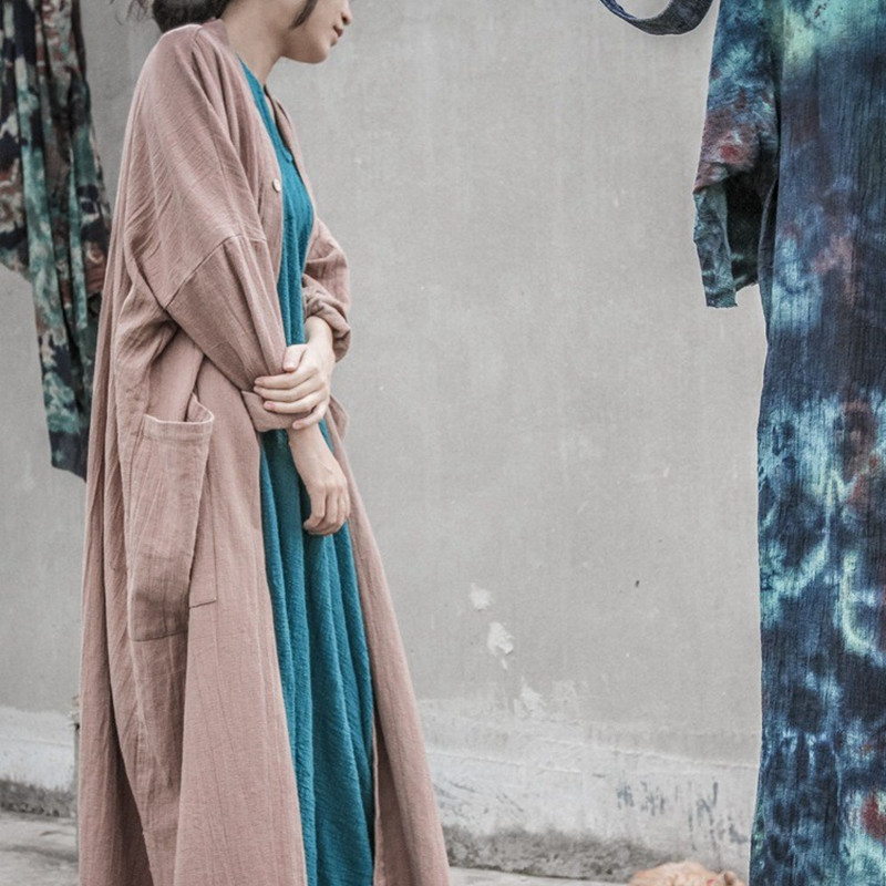 Vintage Original Ethnic Treach Cardigan Chinese Solid Full Sleeve Cotton Linen Women Maxi Long Outwear Causal Femme Plus Size