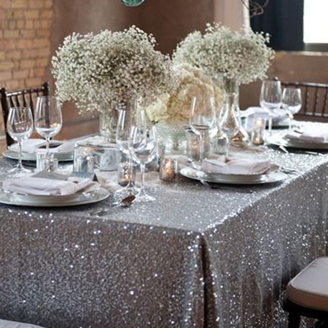 Nice 120x180cm Sparkling Rose/Gold/Silver Embroidery Mesh Sequin Tablecloth  Table Cover Overlay For Wedding