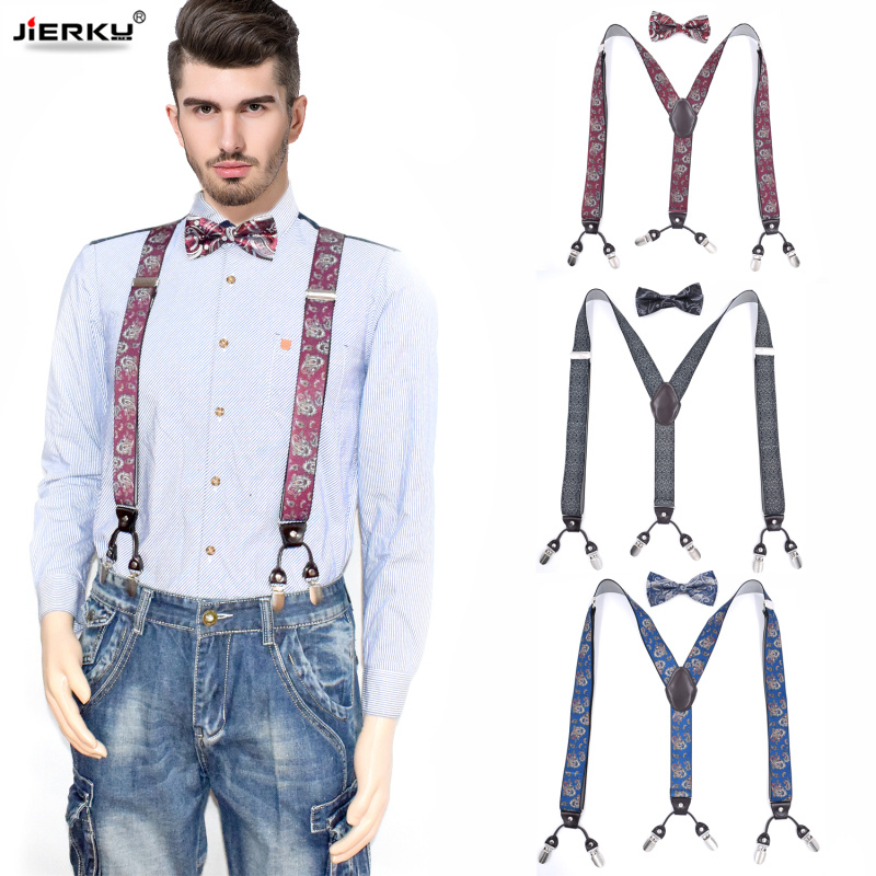 Man's Suspenders Set Leather 6 Clips Braces With Bow Tie Male Vintage Casual Suspensorio Trousers Strap Father/Husband's Gift S