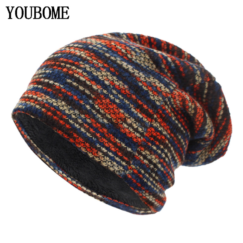 YOUBOME Knitted Hat Winter Hats For Women   Skullies     Beanies   Men Mask Striped Winter   Beanie   Gorros Bonnet Warm Baggy Thick Hat Cap