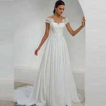Simple Cheap Chiffon Wedding Dress A Line Off The Shoulder Boat Neck Illusion Back Bridal Gowns Lace Appliques Top