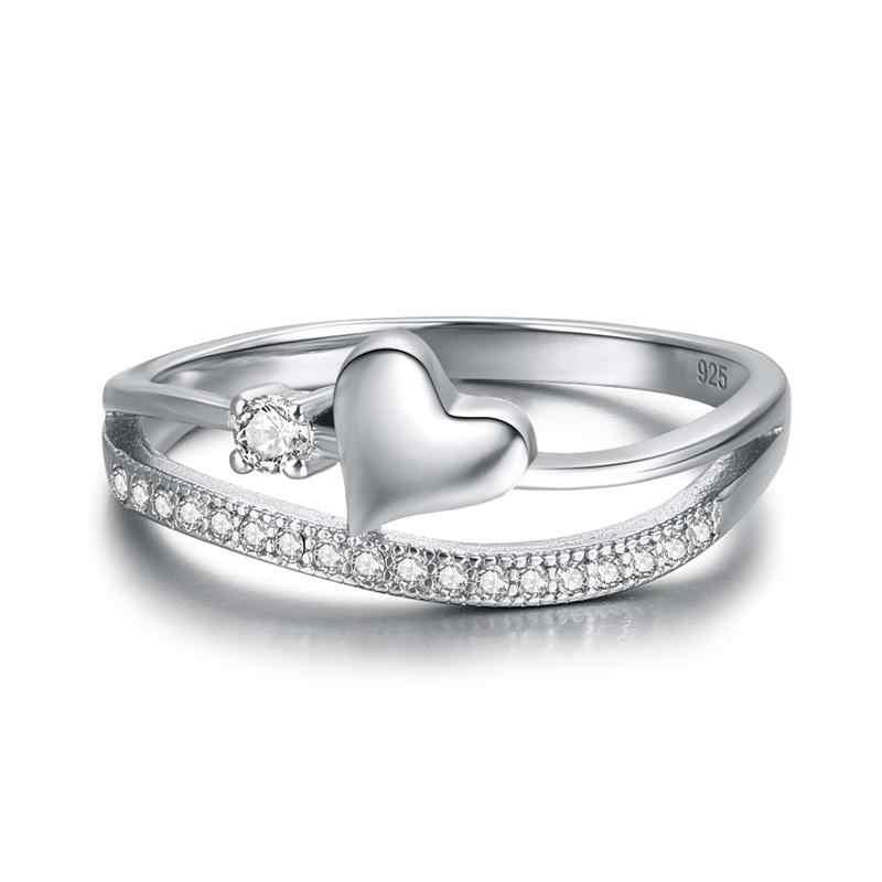 Jiayiqi модное кольца из стерлингового серебра 925 для женщин ювелирные изделия Шарм Сердце Алфавит CZ хрустальное кольцо свадебные подарки на день Святого Валентина