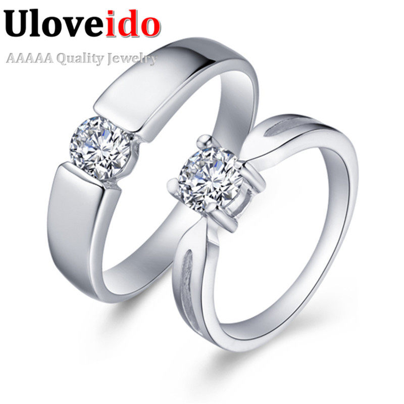 cubic zirconia jewelery couple rings for men and women wedding ring sale anniversary pair silver alibaba express uloveido j043 in rings from jewelry - Wedding Rings For Sale