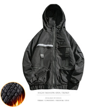 Winter Oversize Military Tactical Track Cargo Jacket Reflective Ribbon Multi Pocket Side Stripe Splice Hoody Parka
