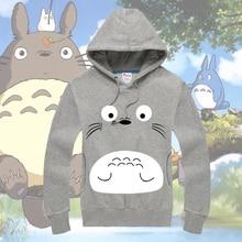 Fashion Pullover Hoodies Cute Anime Totoro Fleece Hooded Sweatshirt Casual Jersey Full Sleeve Hoodie Front Pocket Tops Home Coat front pocket single stripe pullover hoodie