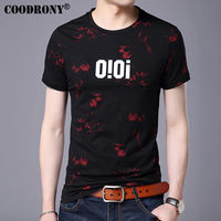 COODRONY Fashion Floral Print O Neck Short Sleeve T Shirt Men 2017 Spring Summer New Top