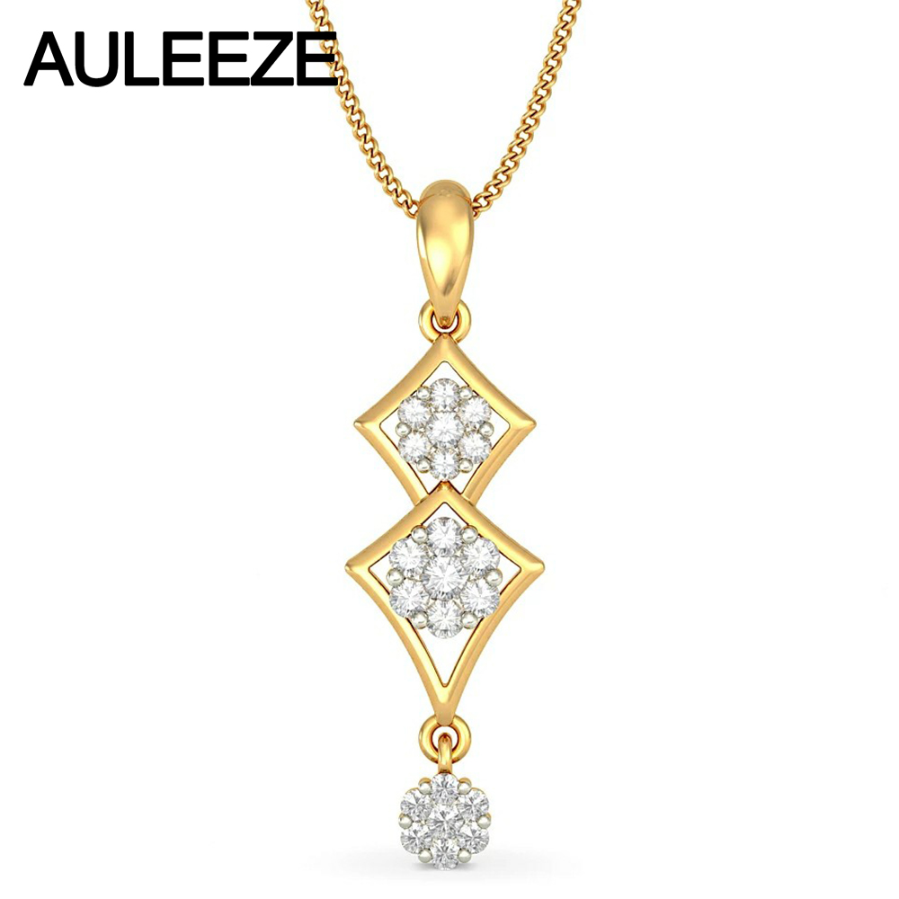 Famous Style Unique Water Drop 585 Gold Necklace Solid 14K Yellow Gold Jewelry 0.43CTTW Real Natural Diamond Pendants For Women