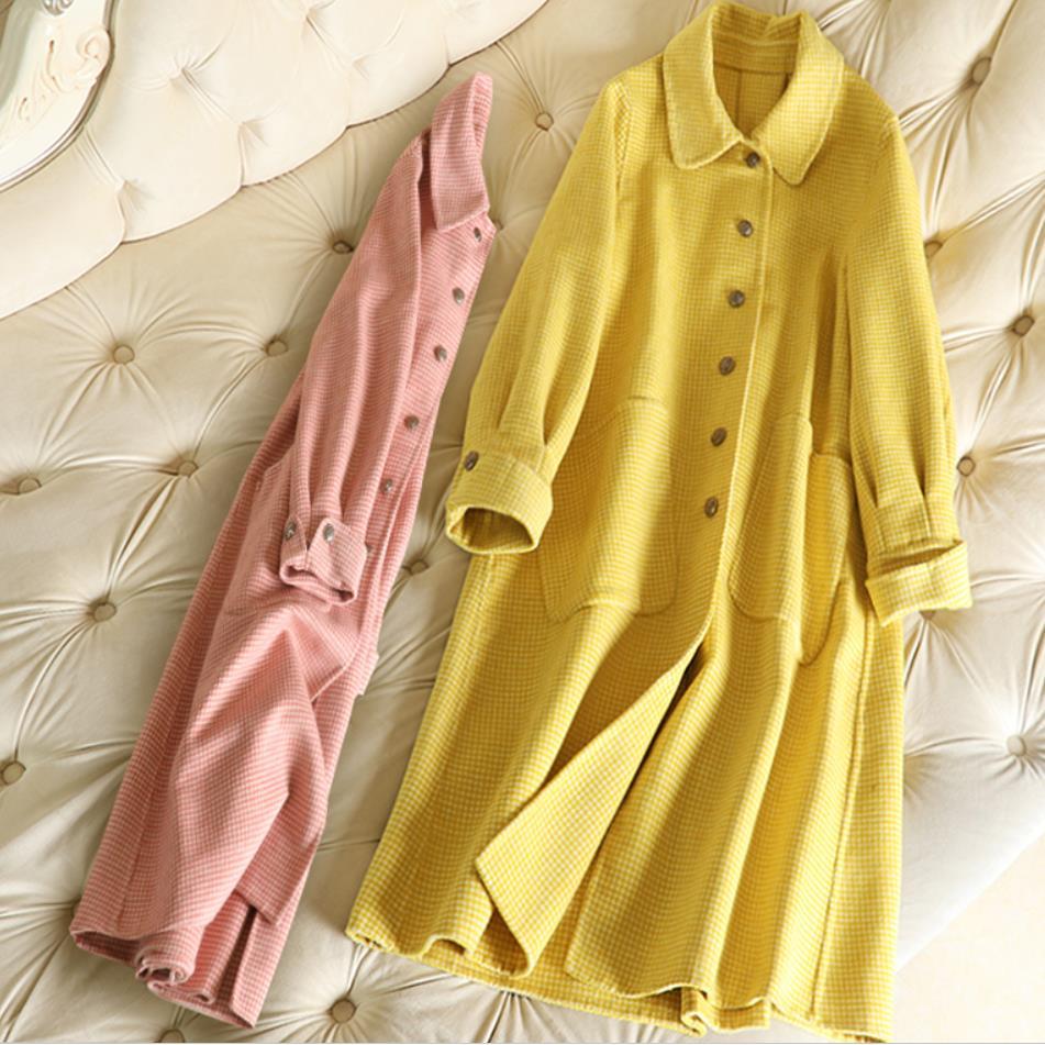 Cachemire Pardessus De Laine Lâche Cardigan Femmes red Manteau Élégant  D hiver Longue Yellow pink Breaste ... cb3f83954dee