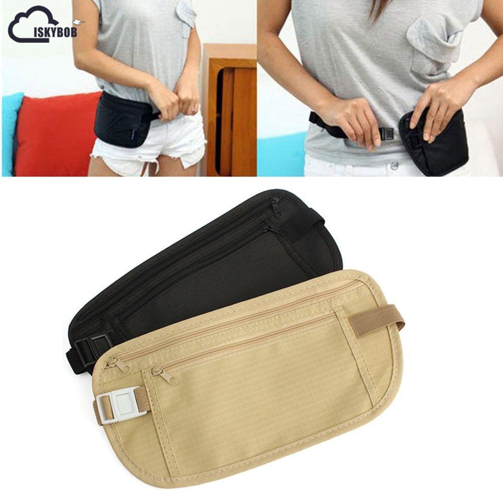 ISKYBOB  Cloth Travel Pouch Hidden Wallet Passport Money Waist Belt Bag Slim Secret Security Useful Travel Bag