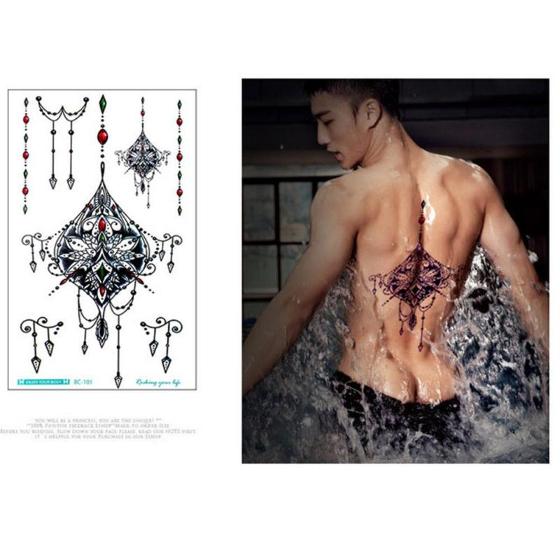 temporary Tattoo Black Waterproof Tattoo Sticker women Men Body Art Arm back Sleeve Tatoos A6 9