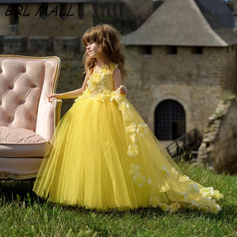 Cute Bright Yellow   Flower     Girl     Dresses   with 3D   Flowers   Ball Gown   Girls   Pageant   Dresses   Tulle Floor Length vestido de daminha