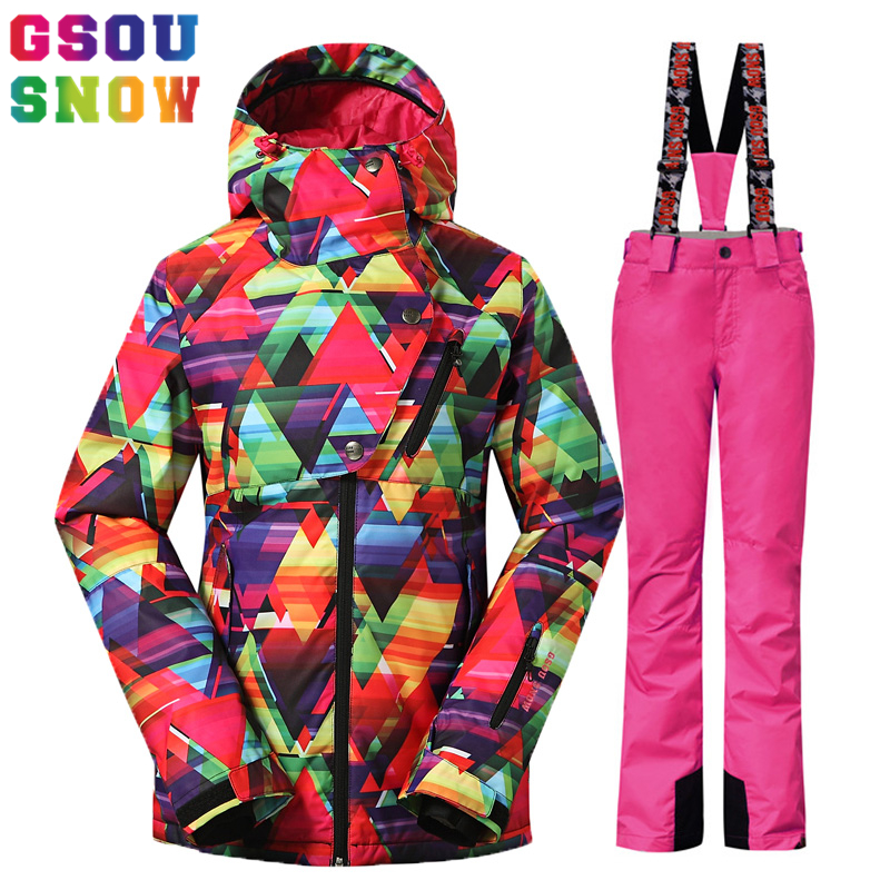 Prix pour Gsou Neige-30 Degrés Femmes combinaison de Ski coupe-vent imperméable ski veste femmes en plein air ski pantalon + snowboard veste D'hiver habit de neige