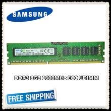 Samsung DDR3 8GB 16GB หน่วยความจำเซิร์ฟเวอร์ 1600MHz PURE ECC UDIMM 2RX8 8G PC3L 12800E 1.35V Workstation RAM 12800 Unbuffered
