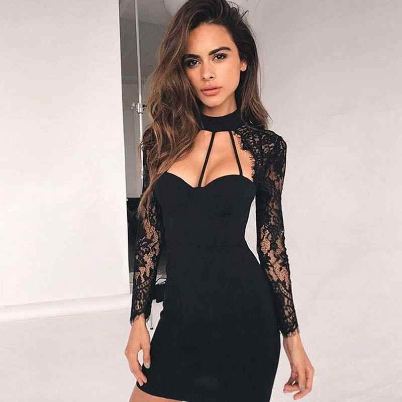 Liva Girl V Cut Choker Neck Floral Elegant Lace Dress Royal Blue Club Dress Fall V Neck Long Sleeve Sexy Bodycon Dress 2018 Gift