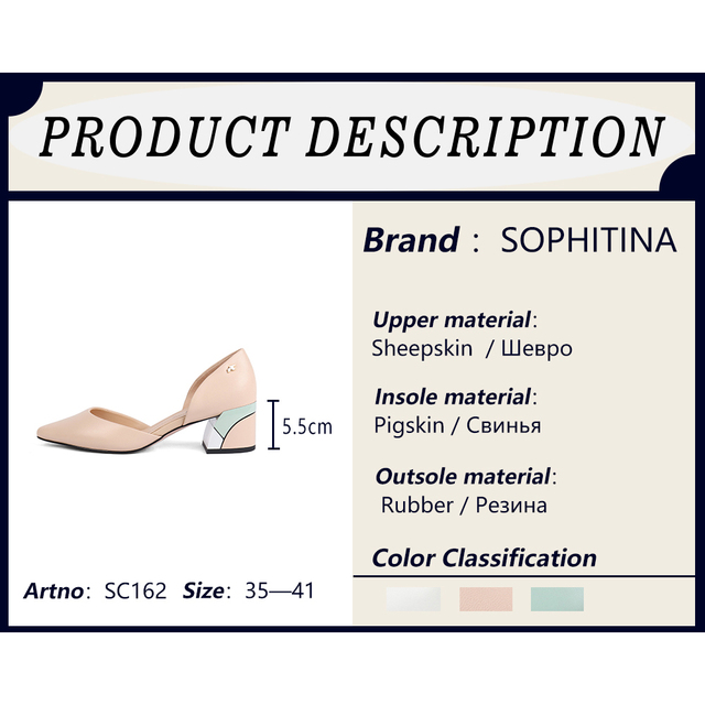 SOPHITINA Comfortable Square Heel Pumps High Quality Genuine Leather Slip on Shoes Fashion Shallow Special Women