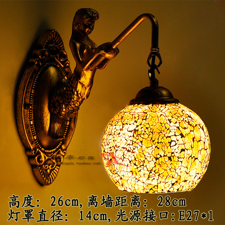 Tiffany Baroque vintage Stained Glass Iron Mermaid wall lamp indoor lighting bedside lamps wall lights for home AC 110V/220V E27