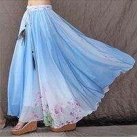 Summer Style Pleated Long Skirt Floral Print Chiffon Skirts Women Fashion Elastic Waist Beach Skirts XY-22