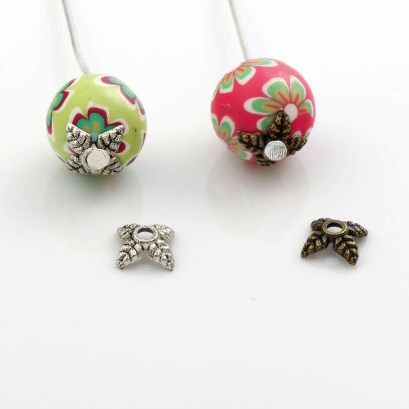 Leaf Bead cap Jewelry Findings Components L1019 180pcs 5.7x5.7mm Antique Silver/Bronze