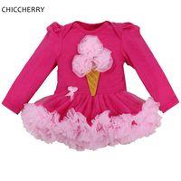 Fancy Design Ice Cream Shape Baby Girl Lace Tutus Newborn Winter Long Sleeve Infant Girl Bebe
