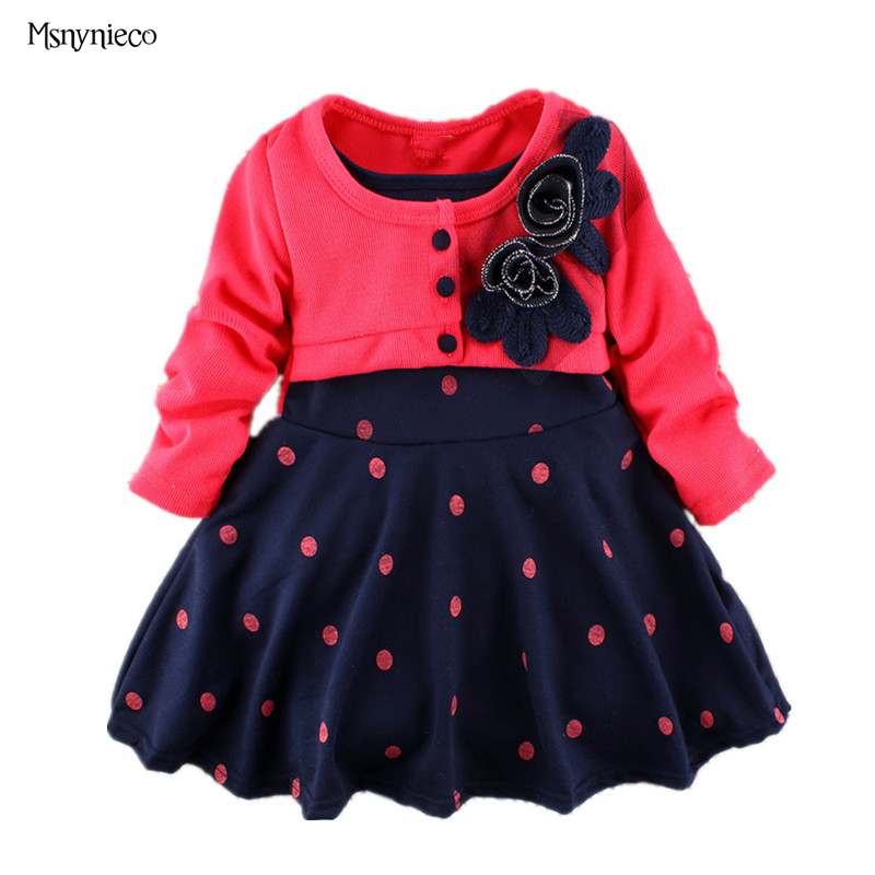 2017 Baby Toddler Girl Dresses Princess Polka Dot Dress Long Sleeve Kids Dresses for Girls vestidos infantil Children Clothes baby girls short sleeve dress girls kids polka dot dress clothes overalls dress